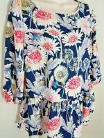 LC Lauren Conrad Floral Dandelion Print Peplum 3/4 Sleeve Blouse Sz XS NWT