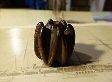COPPIA di raro antico intagliati a mano grandi perline di legno duro Ojime ASIATICO CINESE