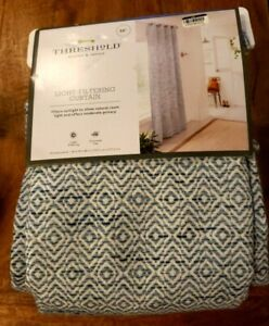 """Space Dye Woven Curtain Panel 54""""x 108"""" Blue 100% Cotton New Threshold ONE"""