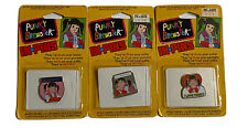 """PUNKY BREWSTER RARE ENAMEL PINS LOT OF 3 """"In Pins"""" 1984 MOC NBC 80s Vintage"""