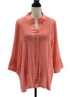 Mislook Womens Gauze Tunic Blouse Pink Plus Size 3XL 2X Crochet Long Sleeve Boho