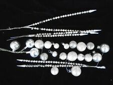 Silver Vtg Antique Christmas Miniature Feather Tree Glass Bulb Ornaments 20+Lot