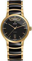 Rado Centrix Day-Date Black Dial Gold-plated Black Ceramic Mens Watch R30157162