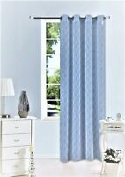 1PC GROMMET VOILE SHEER WINDOW PANEL CURTAIN GEOMETRIC PRINTED L.BLUE/WHITE S38