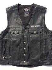 Harley Davidson Piston II Heavy Leather Vest Men's XL Black 97148-99VM
