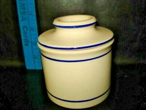 Butter Crock Keeper Dish Norpro White Blue Bell Shape Stoneware 3""