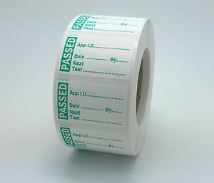 100 MINI PAT Test / Testing Labels PASSED Non Rip 40 x 24mm PASS Stickers
