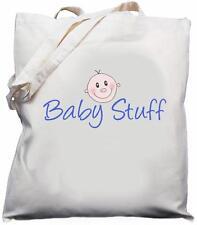 Baby Stuff - Natural (Cream) Cotton Shoulder Bag - Blue - Baby Shower Gift