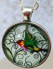Hummingbird  Necklace Glass Dome Art Pendant Necklace, Bird lovers gift