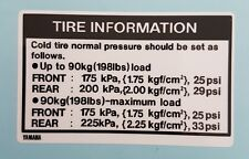 YAMAHA RD250LC RD350LC 4L0 4L1 TYRE INFORMATION DECAL