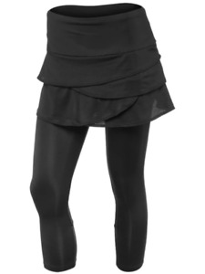 LUCKY IN LOVE Black tiered stretchy tennis yoga skirt capris leggings M 8 /10