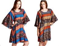 JODIFL Womens Flowy Boho 3/4 Large Bell Sleeve Bohemian Chic Casual Dress  S M L