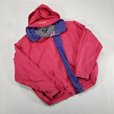 Nautica Pink Purple Hooded Windbreaker Jacket Women's LARGE VTG 90s stripe lined