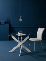 Küchentisch Esstisch Konferenztisch Rund 120cm 140cm Weiß Chrom Klarglas Platte