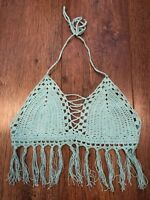 TURQUOISE BLUE CROCHET BRALET TOP TOWIE HOLIDAY BEACH SUMMER FESTIVAL NEW
