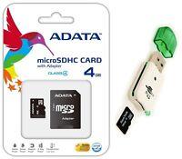 Adata 4GB Micro SD SDHC MicroSD Flash Memory with Adapter 4 GB + USB Card Reader