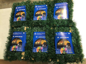 Lot 6 Lighted Garland 18 Foot Multi Color Christmas Lights Holiday Classics GE