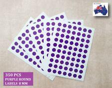 350 Pcs Round Stickers Circle Dots Spots Colour Code Small Purple 8mm