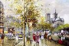 Wall art Paris street scene oil painting Giclee Art Printed on canvas L3196