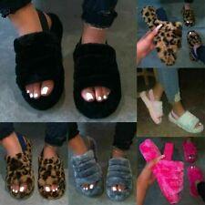 UK Fur Fluffy Sliders Slippers Slip On Flat Sandals Mules Summer Shoes slippers