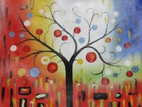 tree of life abstract large oil painting canvas colourful original modern art