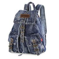 2018 Women's Blue Denim Backpack Outdoor Sport Bag Tote Travel Rucksack Daypack