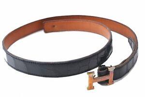 Authentic HERMES Constance Porosus Ladies Leather Belt Black Brown C9023