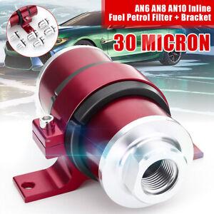 Universal Inline Fuel Filter 30 Micron + AN6 AN8 AN10 Billet Resuable & Bracket