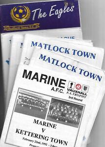 12 Non League football progs 1987- 96 Marine Matlock Bedworth Bedford Town  X