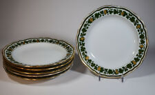 6 Meissen Green And Gold Vine And Grapes Dessert Plates