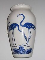 vintage porceline vase white with blue flamingos