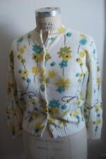 Vintage 50's Mid-Century Off-White Multi-colored Floral Print Cardigan Sweater