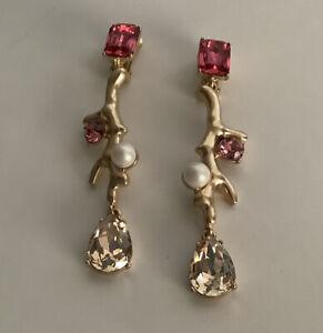 Signed Oscar de la Renta Crystal Pearl Branch Earrings