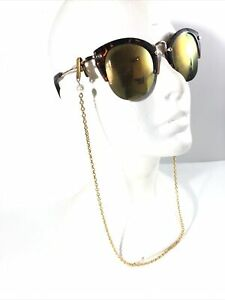 Vintage Pearl eye glasses holder W/ Gold Tone Neck Chain. Estate Jewelry.