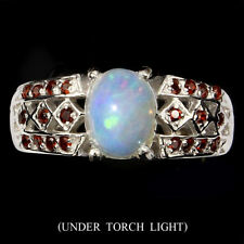GENUINE Hot Rainbow Luster Fire Opal, Mozambique Garnet 925 Sterling Silver Ring