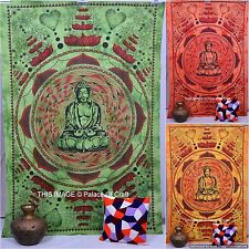 Indian Twin Size Lord Buddha Cotton Tapestry Ethnic Wall Hanging Bedspread Decor