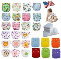 Adjustable Reusable Baby Washable Cloth Diaper Nappies Lot 5 Diapers +5 Inserts