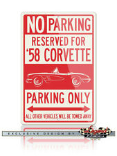 1958 Chevrolet Corvette C1 Reserved Parking Only 12x18 Aluminum Sign