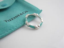 Tiffany & Co Silver NEW MINT Blue Enamel Ring Size 4.5