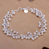 Women's 925 Sterling Silver Beads Bracelet Size 7-8 Inches 2.5MM Lobster L9