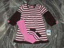NWT Rabbit Moon Girls 5Y 5T Pink Brown Winter Sweater Dress Tights Clothes Lot