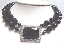 Vintage 50's Glass Crystal Bead Rhinestone Bib Pendant Necklace 2 Strand Black