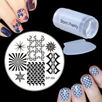 Geometry Nail Art Image Stamping Plate Scraper Stamper Manicure Template Kit Set