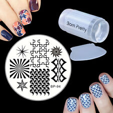 Geometry Nail Art Image Stamping Plate Scraper Stamper Manicure Template Kit Set