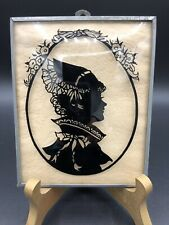 vintage reverse painted Lady silhouette on glass