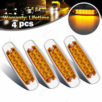 4x 12 LED Front/Rear Side Marker Amber Light Truck Boat Trailer Lorry Bus Lamp