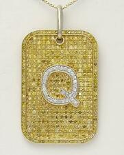 14k YELLOW GOLD 3.00ct YELLOW DIAMOND LETTER Q INITIAL DOG TAG PENDANT 2.33""