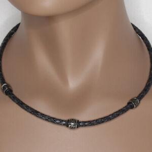 Schwarz antik LEDERKETTE für Herren EDELSTAHL Halskette STORCH SCHMUCK Germany
