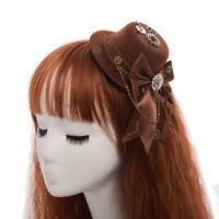 Steampunk Gear Bowknot Mini Hat Hair Clip Lolita Girls Vintage Headwear Hairclip