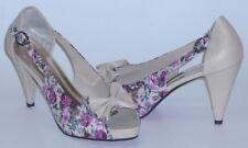 Flowery Summer Womens Open Toe Heels Multicoloured Light Grey kvöll Size 39 NEW